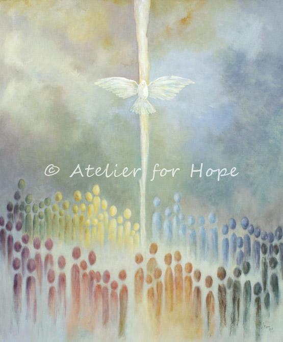 Bijbels schilderij De hemel geopend, Pinksteren Heilige Geest. Atelier for Hope Christelijke Kunst