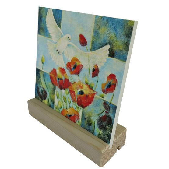 Belijdenis - doop - kado - Keramische Tegel Schilderij Leven, klaprozen en duif, Heilige Geest. Atelier for Hope Doetinchem