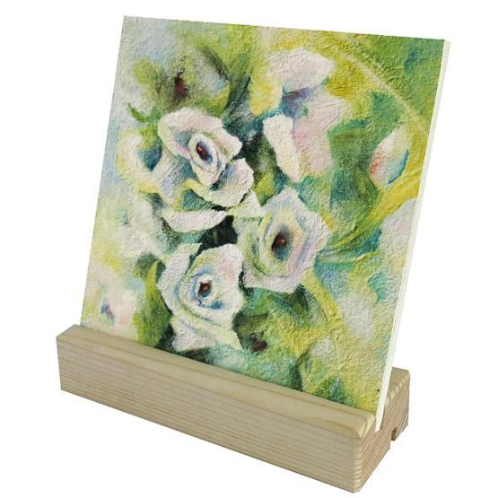 Keramische Tegel Schilderij Witte Roosjes Atelier for Hope Doetinchem kunst kadoartikel