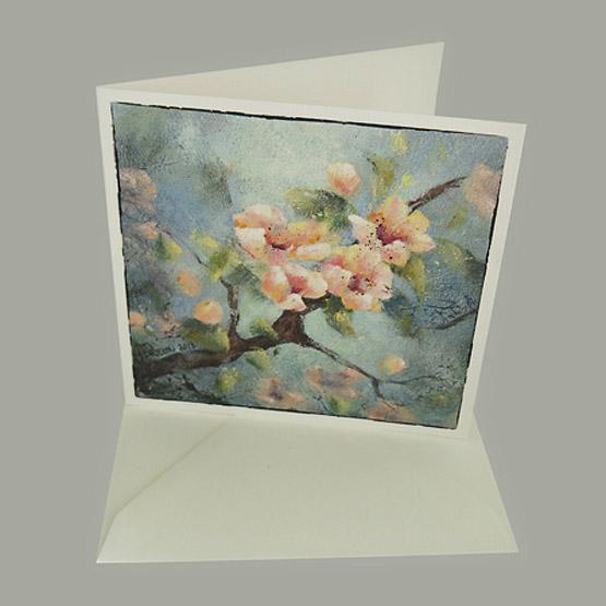 Kunst kaart schilderij Bloesem, gevouwen kaart Atelier for Hope