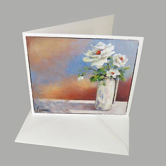 schilderij kaart clipvaasje met witte roosjes, Atelier for Hope kunstkaarten