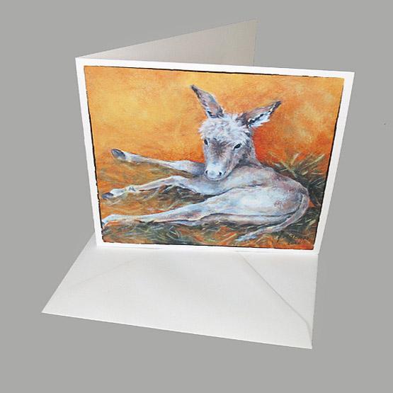 Kunstkaart Ezeltje, kerstkaart schilderijen, Atelier for Hope Doetinchem