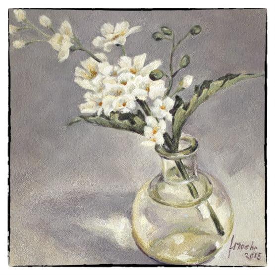 Kunstkaart Kaart Glazen Bolflesje met bloemen, bemoediging, rouw
