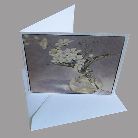 SchilderijKaart bloemen in glazen bolflesjes, bemoediging, condoleance, rouw, hoop Atelier for Hope Doetinchem