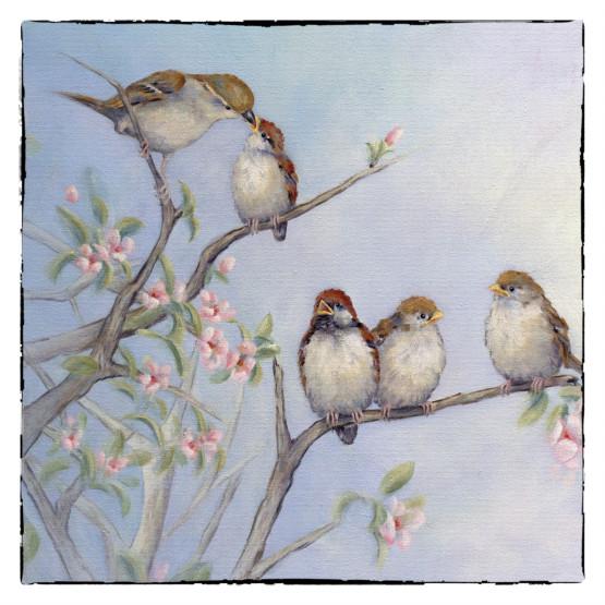 Mussenkaart- kaart groep musjes vogels Atelier for Hope Doetinchem