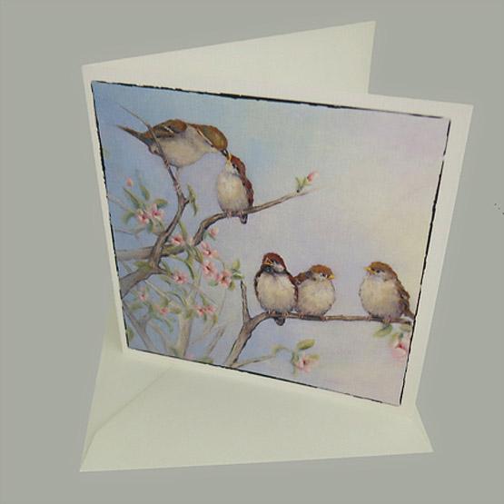 Kaart schilderij Musjes, mussen kaart, musjes kaart, Atelier for Hope Doetinchem