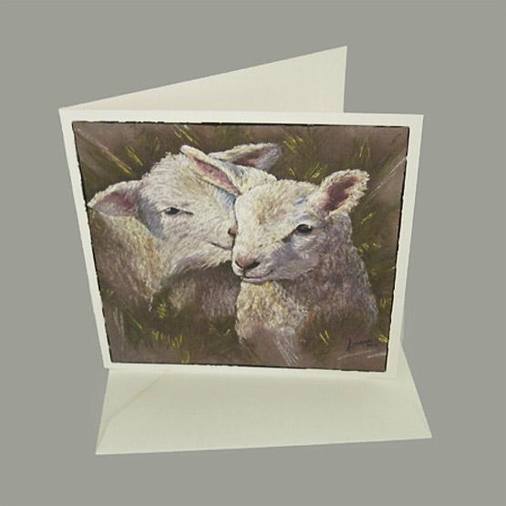 wenskaart Lammetjes kunstkaarten van schilderijen Lente Atelier for Hope