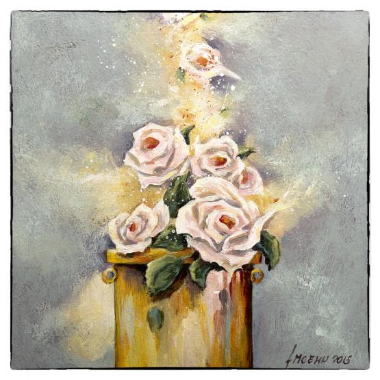 Bijbelse en christelijk geinspireerde thema's. Kaart schilderij Morning prayer - reukwerk van rozen.