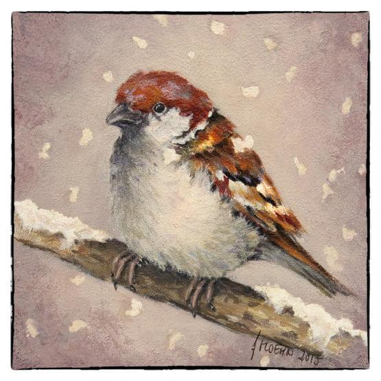 Kunstkaart Kerstkaart Musje Sneeuw Atelier for Hope Doetinchem