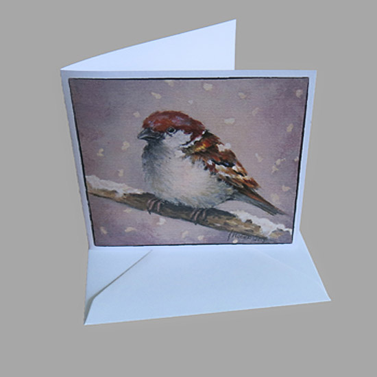 kunstkaart kerstkaart musje sneeuw, kaarten van schilderijen Atelier for Hope