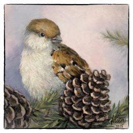 Kerstkaart Musje met dennenappel, kunstkaart van schilderij Atelier for Hope Doetinchem