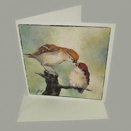 Wenskaart / kunstkaart Musje met jong, bijzondere kaarten Atelier for Hope