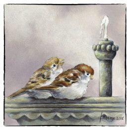 Kaart van schilderij Musjes bij de Fontein, kunstkaart - wenskaart Atelier for Hope