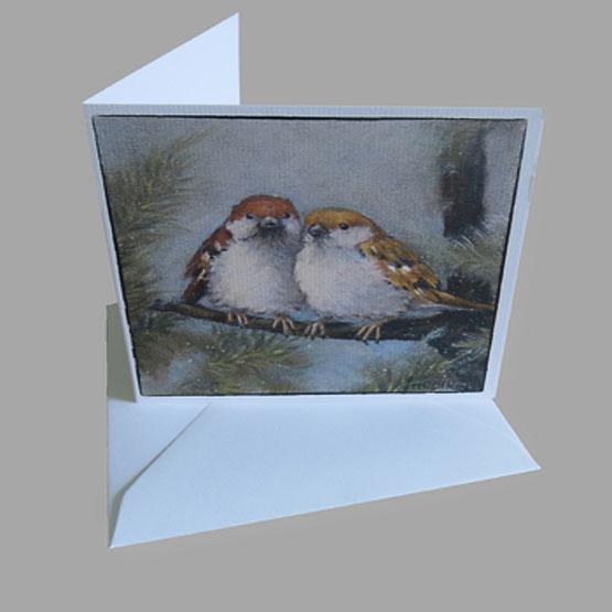 kaart Musjes Dennenboom - geschikt als kerstkaart. Atelier for Hope Doetinchem kunstkaart