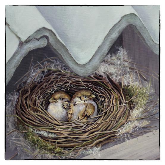Wenskaart Musjes Nest Schilderij. Originele kaarten Atelier for Hope