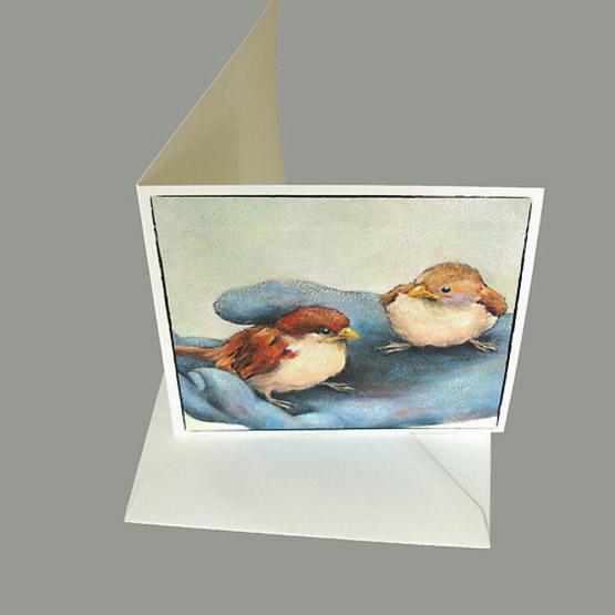 Bijbelse kaart van schilderij Musjes op hand. Wenskaart Atelier for Hope Doetinchem