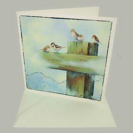 Bijbelse Christelijke kaart van schilderij Musjes op Kruis/hek. Atelier for Hope Doetinchem