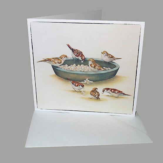 kunstkaart schilderij musjes broodschaal. Atelier for hope bijzondere kaarten