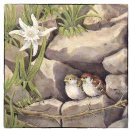 bijzondere-kaarten-schilderij musjes broodschaal. Atelier for hope bijzondere kaarten van mussen