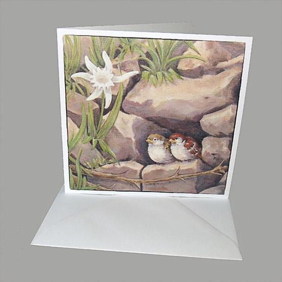 kunstkaart schilderij musjes broodschaal. Atelier for hope bijzondere kaarten van mussen