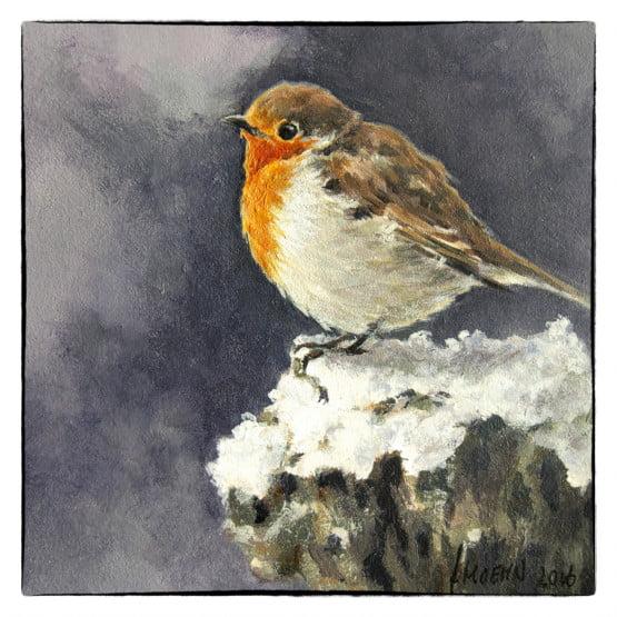 kaart - kunstkaart van schilderij Roodborstje in sneeuw. Kerstkaart Atelier for Hope Originele kaarten