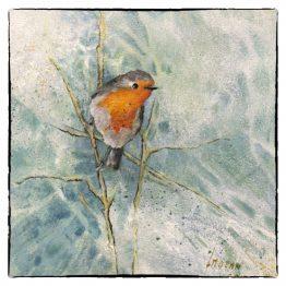 Kunstkaart schilderij roodborstje op Tak Atelier for Hope Doetinchem