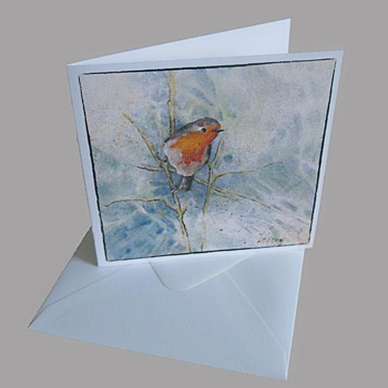 kaart roodborstje kunstkaart van schilderij kerstkaart Atelier for Hope