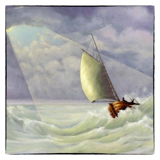 Bijbelse Kunstkaart Ruwe Stormen, Christelijke wenskaarten Atelier for Hope Doetinchem.