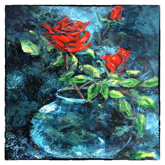Kerstkaart - kaart schilderij Rode roosjes in vaasje, Atelier for Hope Doetinchem