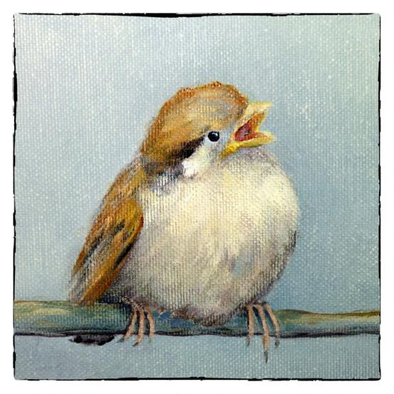 Kunstkaart schilderij Jong Musje, Mussen, Atelier for Hope Doetinchem