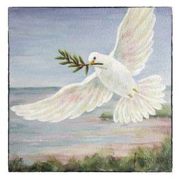 Kunstkaart Kerstkaart Vredesduif schilderij, Atelier for Hope Doetinchem