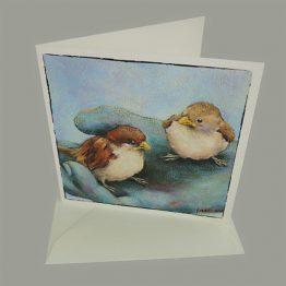 kunstkaart schilderij musjes op hand Atelier for Hope Doetinchem