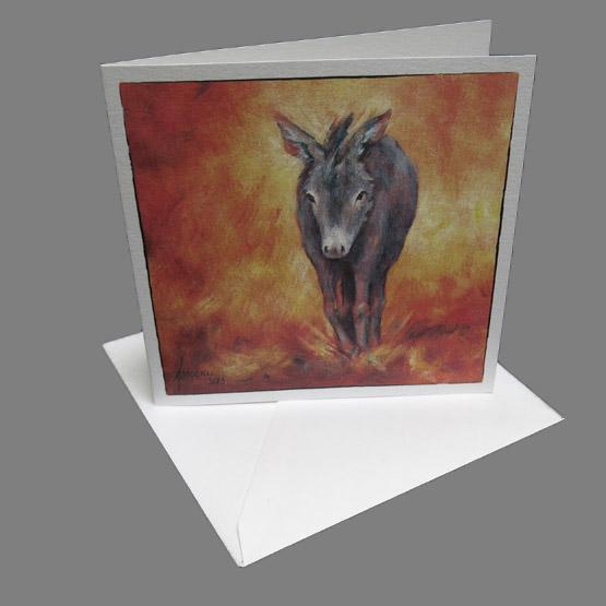 Kaart Ezeltje, kunstkaart schilderij Ezel Atelier for Hope bijzondere kaarten