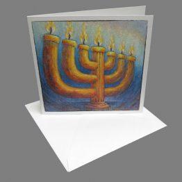 Bijbelse Christelijke kaart Menorah, kandelaar- Atelier for Hope kaarten met een boodschap