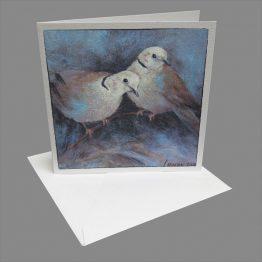 kaart duiven - Tortelduifjes - Atelier for Hope Doetinchem bijzondere wenskaarten