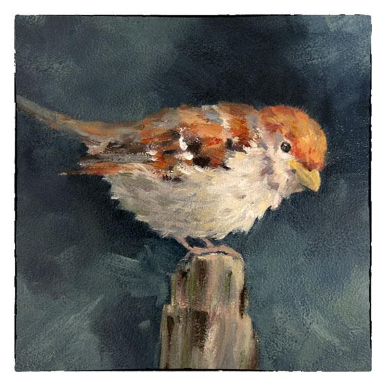 Kunstkaart kaart schilderij Musje op Paal, Atelier for Hope Doetinchem