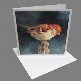 kaart musje op paal Atelier for Hope wenskaarten mussenkaarten