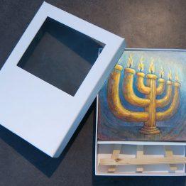 Bijbels Mini Schilderij The Lampstand Menorah, Christelijke kado artikelen Atelier for Hope