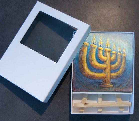 Bijbels Mini Schilderij The Lampstand Menorah, Christelijke kado artikel Atelier for Hope