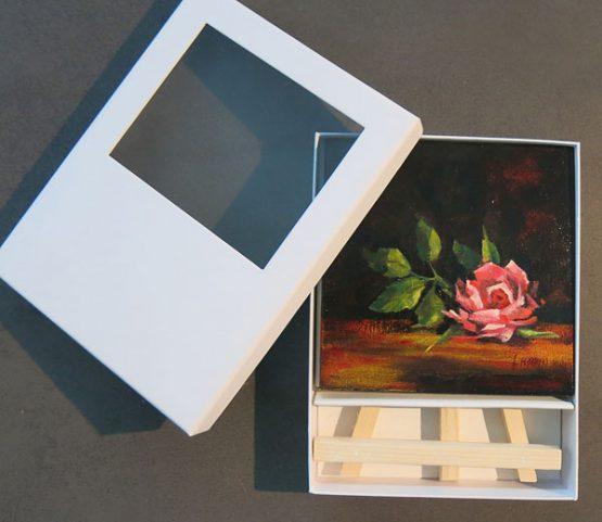 Klein Schilderij Rood Roosje Kado Atelier for Hope