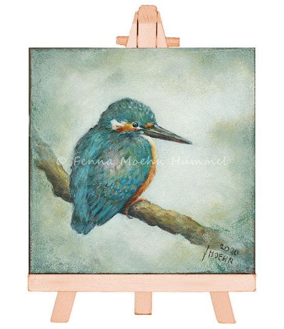 Miniatuur Schilderij IJsvogeltje, IJsvogel op tak. Atelier for Hope Bijzonder kunst kado