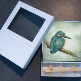 Miniatuur schilderij IJsvogeltje Atelier for Hope bijzonder kunstkado handgeschilderd
