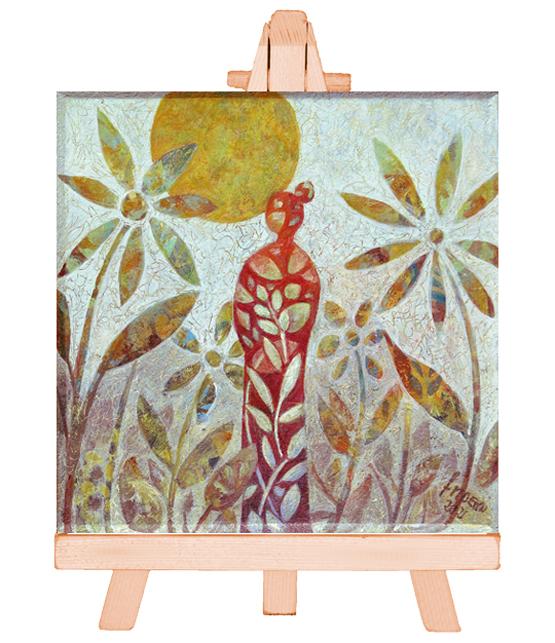 Mini Schilderij Verwondering, kleurrijk handgeschilderd miniatuur schilderij
