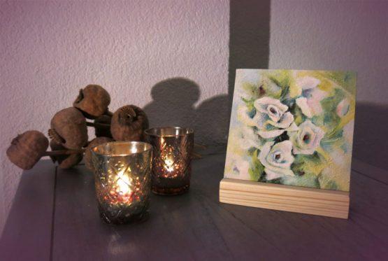 Schilderij witte roosjes giclee of tegel Atelier for Hope Doetinchem kunstkado's