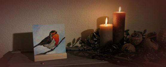 Schilderij keramische tegel of giclee Roodborstje, kunstkado Atelier for Hope Doetinchem