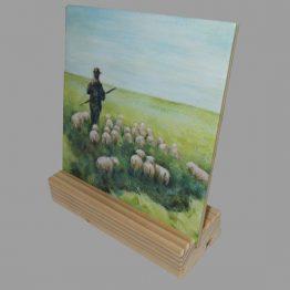 Belijdenis-Doop kado. Keramische Tegel schilderij de Herder, psalm 23. Atelier for Hope Doetinchem