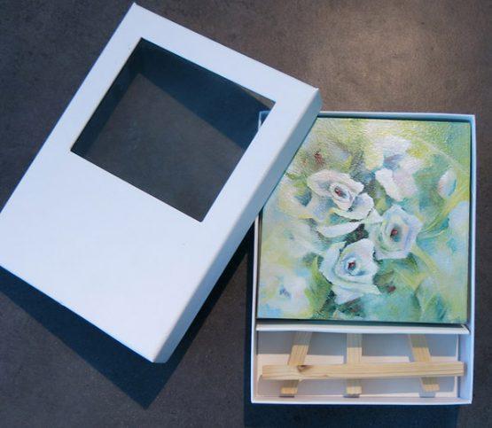 Klein Schilderij Witte Roosjes Kado Atelier for Hope