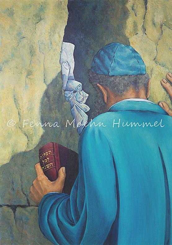 Bijbels Christelijk Schilderij Joodse Man Klaagmuur Religieuze kunst