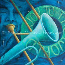 Bijbels Schilderij Joy to the World, Christelijke boodschap Atelier for Hope Doeitnchem