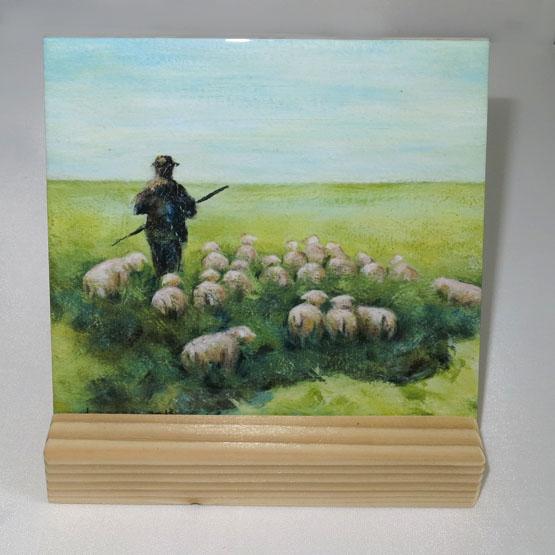 Keramische Tegel schilderij de Herder, psalm 23. Atelier for Hope Doetinchem kado belijdenis of doop